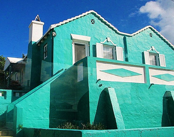 A pretty turquoise house in Bermuda .  Pin provided by Elbow Beach Cycles http://www.elbowbeachcycles.com