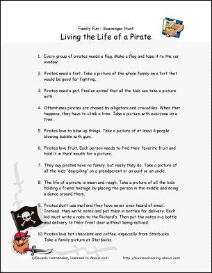 Living the Life of a Pirate - Scavenger Hunt: Family Scavenger Hunt Printable List