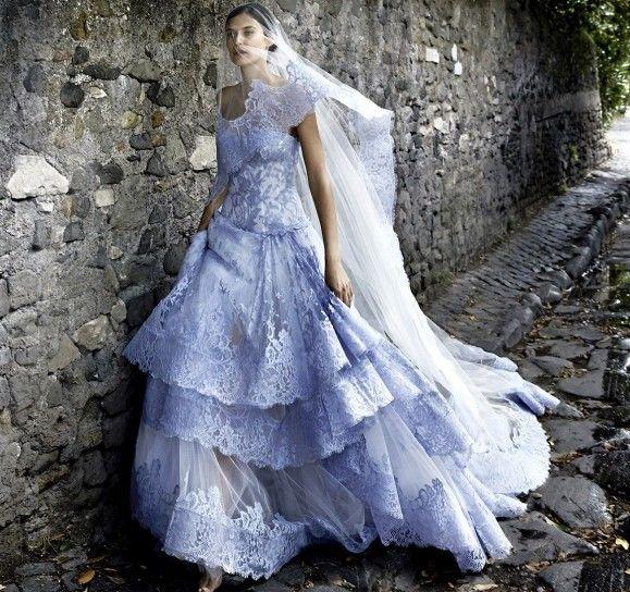 Abito pizzo azzurro Alessandro Angelozzi Couture