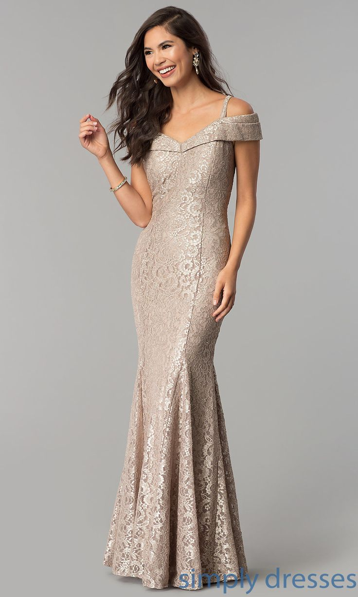 Shop cold-shoulder long lace prom dresses at Simply Dresses. Champagne gold evening dresses under $150 in glitter lace with open backs, cold-shoulder v-necklines, and mermaid-style skirts.