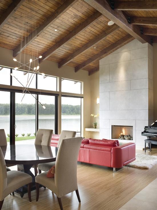 Techo a dos aguas con vigas de madera!! Se ve padrisimo!  Cedar Ceiling Travertine Design, Pictures, Remodel, Decor and Ideas - page 2