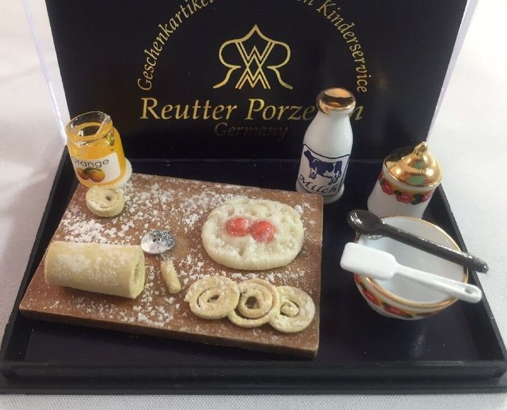 Dollhouse Miniature 1:12 REUTTER Porzellan German ORANGE DESSERT BAKING SET Case  | eBay