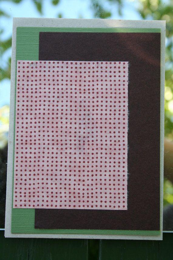 Grönt kort med brunt och rosa papper. by Bokbinderi on Etsy