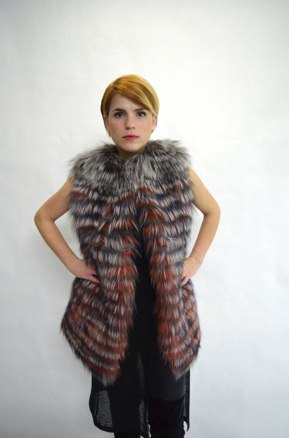 Real silver fox fur vest  silver and red fox fur vest by BeFur