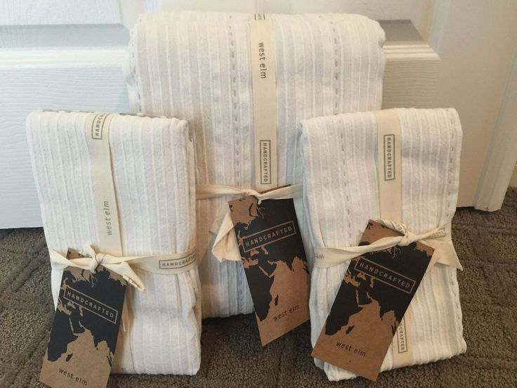 West Elm NADIA STRIPED FULL / QUEEN COVERLET & 2 EURO SHAMS ~ STONE WHITE ~ NEW | Home & Garden, Bedding, Duvet Covers & Sets | eBay!