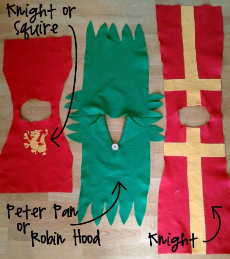 Simple DIY Squire, Robin Hood, and Knight costumes