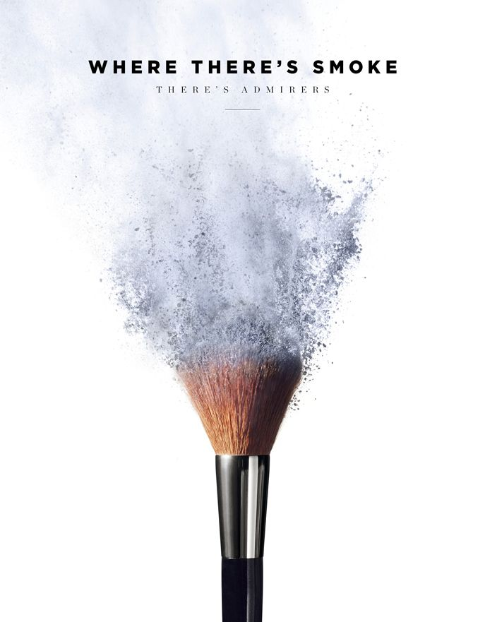 i chose the advertisement because it catches your eye with the makeup brush  because it looks like it's exploding.