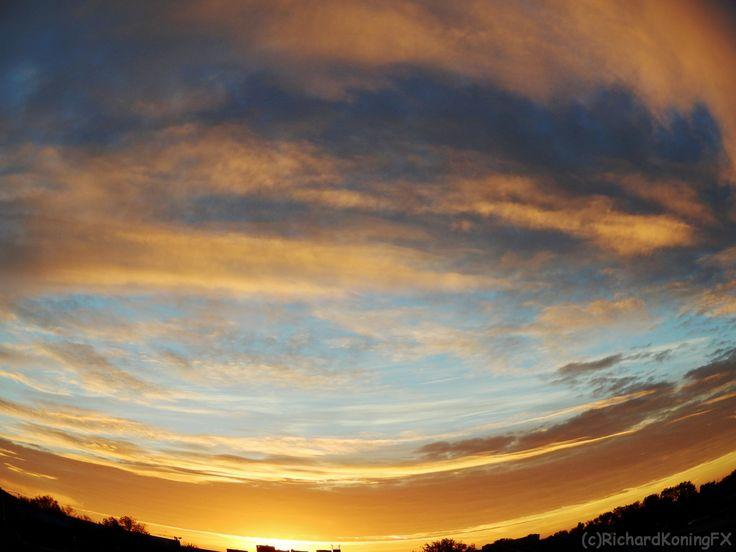 Morning skyline with orange and blue