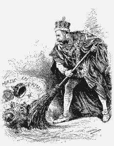 Spotprent in het satirische tijdschrift Punch, 1917 - koning George V past zijn naam aan omdat die te Duits klinkt.