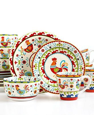 222 Fifth Dinnerware, Suzani Rooster 16 Piece Set - Casual Dinnerware - Dining & Entertaining - Macy's