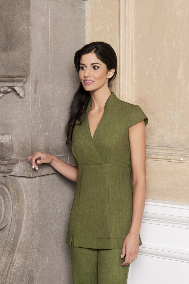 Moss Green Linen Look Tunic by Diamond Designs Ireland