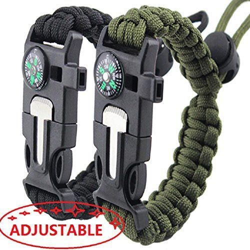 Survival Bracelet Paracord Military Bracelet Buckle Tool Adjustable Rope Accessories Kit, Fire Starter, Knife, Compass, Whistle,For Fishing Gear Supplies, Hiking Travel Camp( 2pcs), (black,green) #Survival #Bracelet #Paracord #Military #Buckle #Tool #Adjustable #Rope #Accessories #Kit, #Fire #Starter, #Knife, #Compass, #Whistle,For #Fishing #Gear #Supplies, #Hiking #Travel #Camp( #pcs), #(black,green)