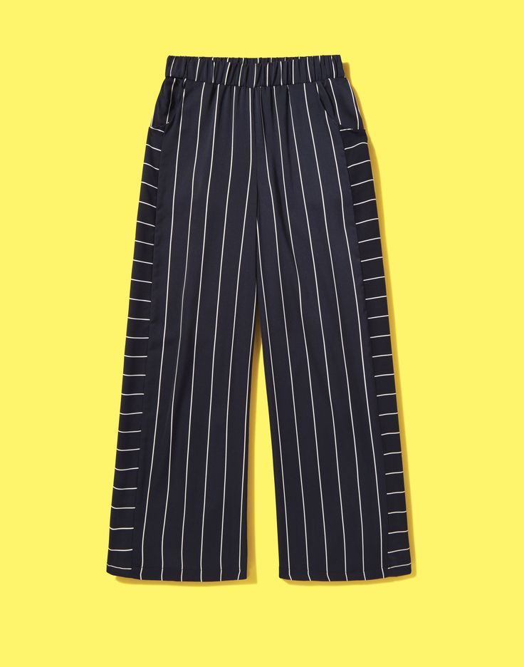 Wide-leg trousers are spring's new silhouette, and this navy nautical pair are super wearable. Team with a simple white T-shirt and box-fresh sneaks for a crisp casual look.