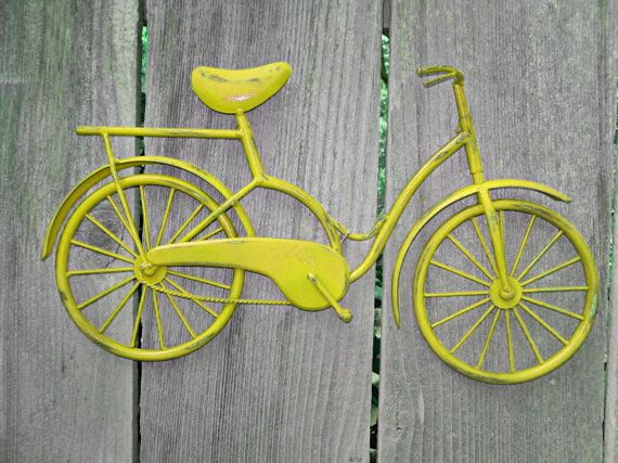 Bicycle Wall Art / Yellow Wall Decor / Metal by Theshabbyshak, $32.99