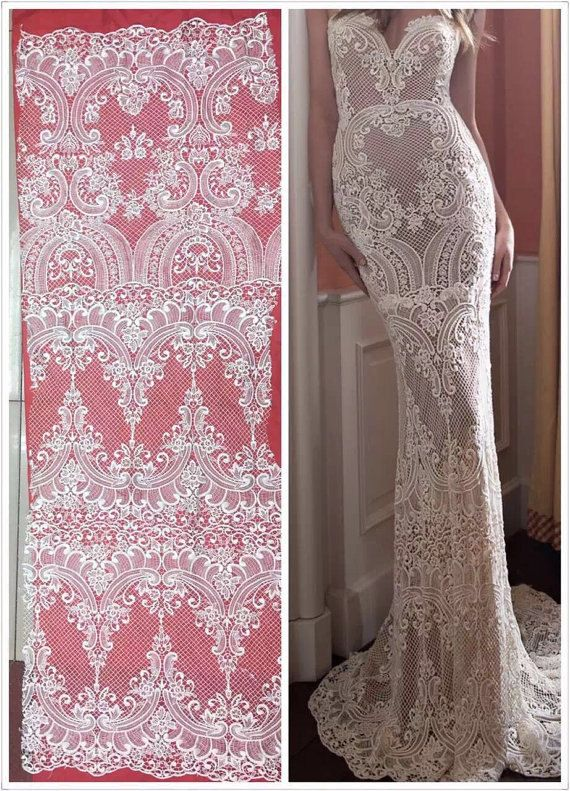 Newest fashion ivory wedding dress lace fabric, Lace Fabric, withe Lace, Lace Material, Embroidered Lace, Embroidered Tulle,french lace by AnnabelleDIY on Etsy