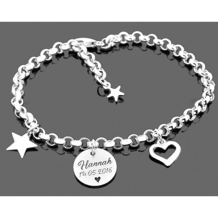 Ein wunderschönes Armband komplett aus 925 Sterling Silber mit hochwertiger Gravur sowie Herz und Stern Anhänger.
