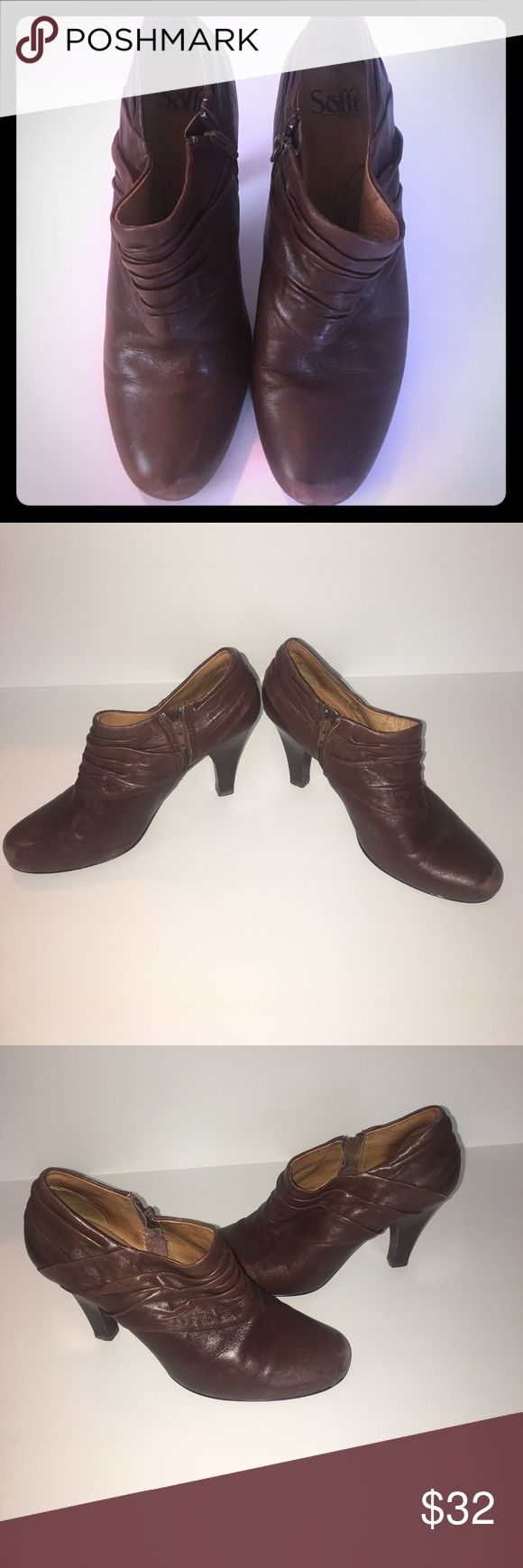 Sofft Brown Ankle Booties Sofft size 9 Brown Leather Ruched Ankle Booties Sofft Shoes Ankle Boots & Booties