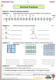 Tests - Grade 6 - Mathematics : Grade 6 Maths Test: Decimal fractions, Ratio and Percentage