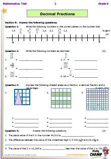 grade 4 fractions test pdf