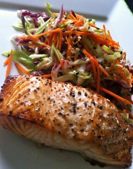Miso Glazed Salmon w/ Sesame Slaw | Salmon Deli | Pinterest | Glazed ...