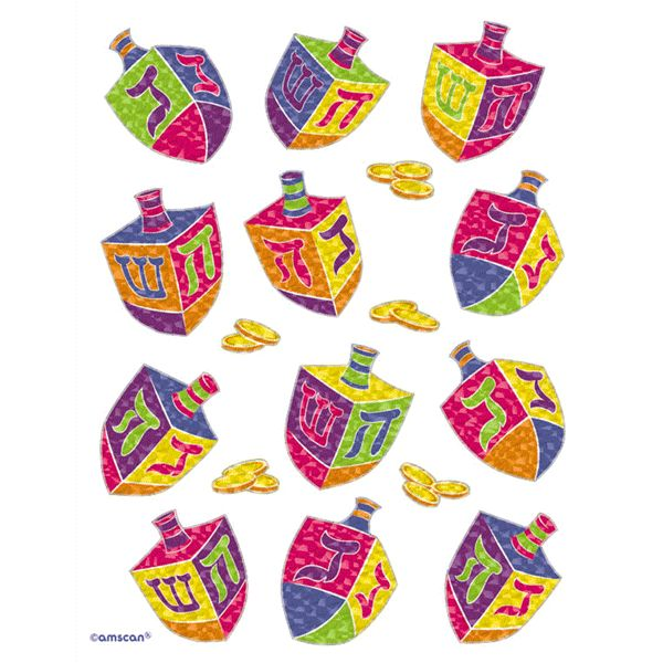 Hanukkah Dreidels Prismatic Sheet Stickers 36ct