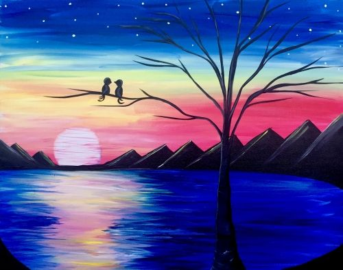 Rainbow Sunset Lovers Lake at Schumann's Jager Haus - Paint Nite Events near Orlando, FL>