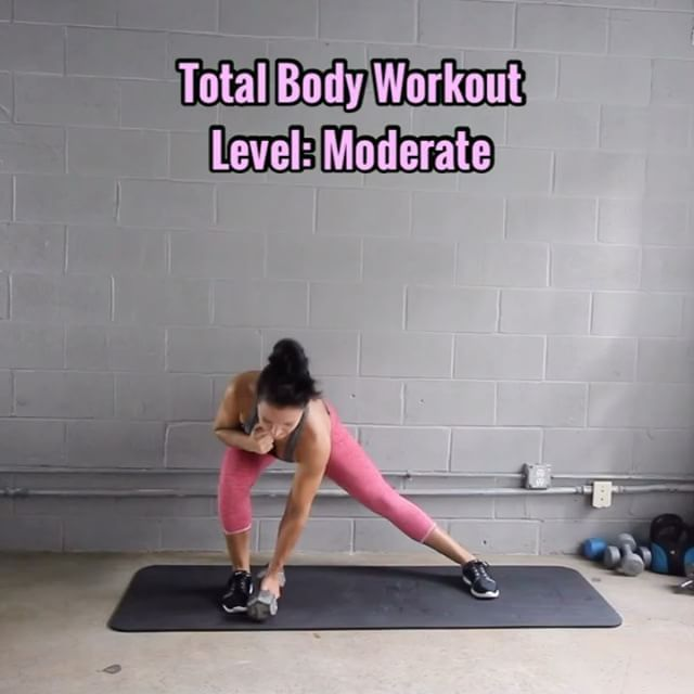 Total Body Workout - Level: Moderate - Equipment: 15lb dumbbells (use what's ideal for you) - - 1. Side Lunge & Crunch (be sure to sit back into it, push thru heel) 8 Reps ea Leg - - 2. Squat Curl Press (wide stance, toes forward) 10 Reps - - 3. Stationary Lunge Press (really Press thru that front heel, go straight up & down, don't let yourself slide forward, core tight) 8 Reps ea Leg - - 4. Pendulum Deadlift Press (notice even as I reach toward ground my back remains flat, watch yourself...