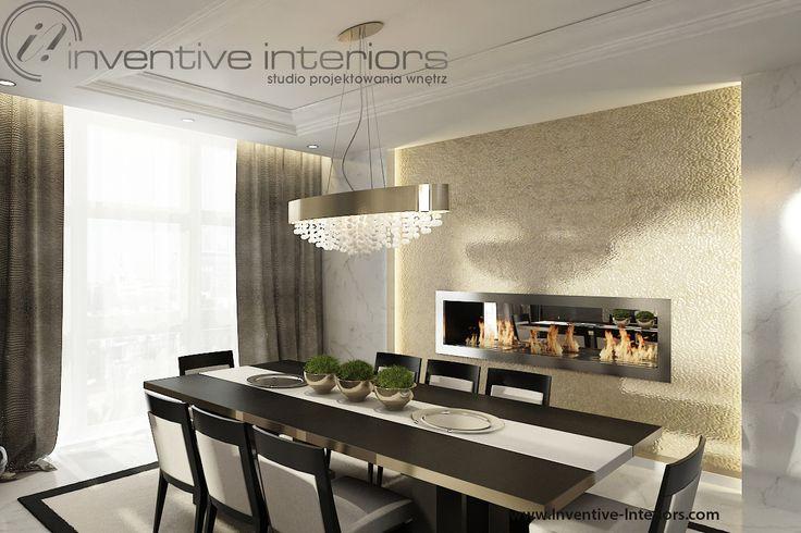 Projekt apartamentu 60m2 Inventive Interiors - jadalnia z kominkiem