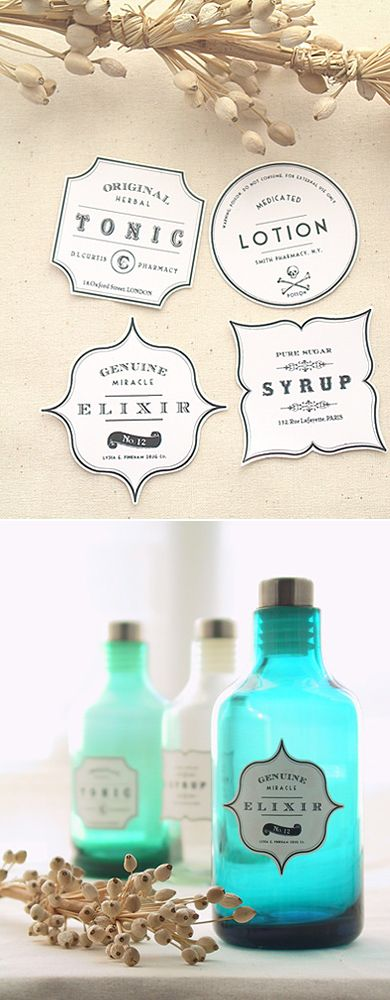 DIY Label Projects and Free Printables • Tutorials and printables, including these DIY apothecary labels by 'Eat Drink Chic'!