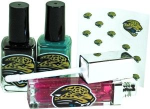 Valentine Gadget Gifts For Woman: NFL Jacksonville Jaguars LED Lip Gloss and Nail Polish Team colored nail polish with nail decals. Officially licensed. http://awsomegadgetsandtoysforgirlsandboys.com/valentine-gadget-gifts-woman/  NFL Jacksonville Jaguars LED Lip Gloss and Nail Polish