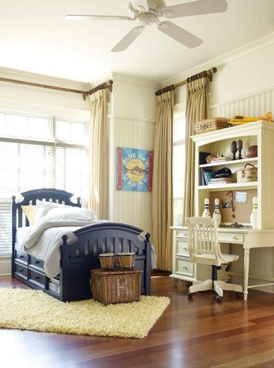 Dream house handsome boy bedroom but bed frame and desk need to be brown and the curtains need to be more of a cream not tan