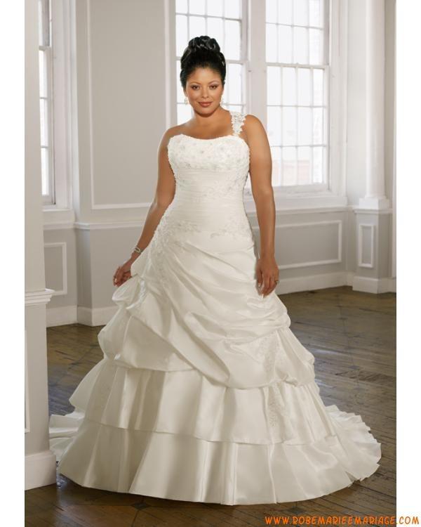 Robe A-ligne avec une bretelle amovible en satin ornée de plis et de perles robe de mariée grande taille