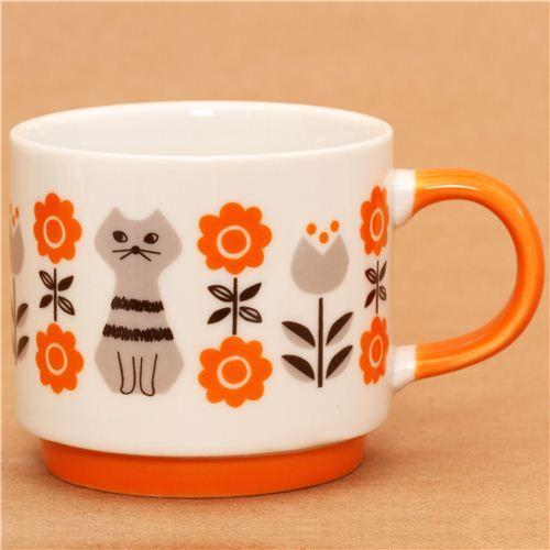 Decole miranda cat and flower cup orange - so cute!