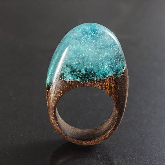 Silver fog  resin wood ring