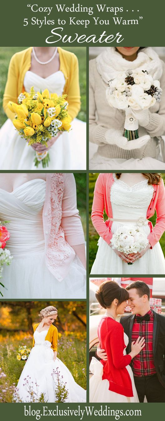 I really like the idea of a cardigan with my wedding dress. I really like the yellow look at the top, and the lace on the light pink cardigan.