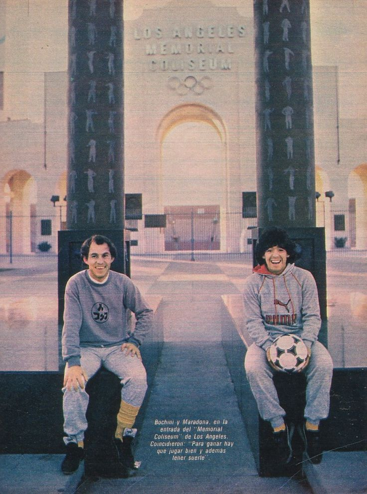 Ricardo Bochini and Diego Maradona by the Los Angeles Coliseum, Argentina were on tour in November 1985 for two matches vs. Mexico