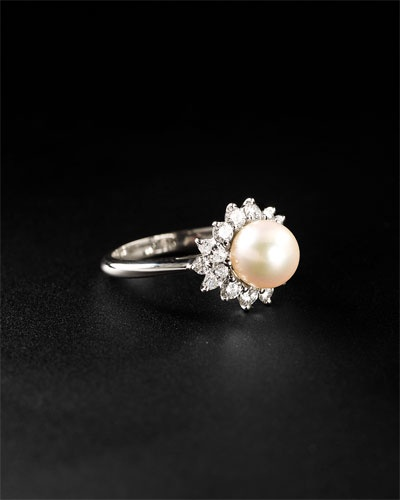 vintage tiffany diamond and pearl ring
