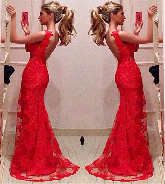 Lady Long Evening Ball Prom Gown Formal Bridesmaid Cocktail Party Lace Dress Red in Clothing, Shoes & Accessories, Clothing, Shoes & Accessories   eBay
