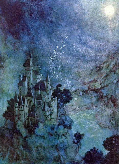 Illustration by Edmund Dulac. Wow this actually reminds me of a painting I did myself, of an underseas castlemountain... I like painting this way!
