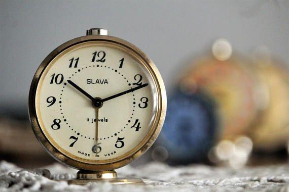 Round Vintage Clock  Retro Alarm Clock  Russian Clock