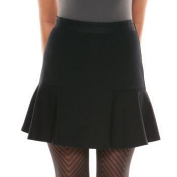 Elie Tahari for DesigNation Ponte Flouce-Hem Skirt - Women's