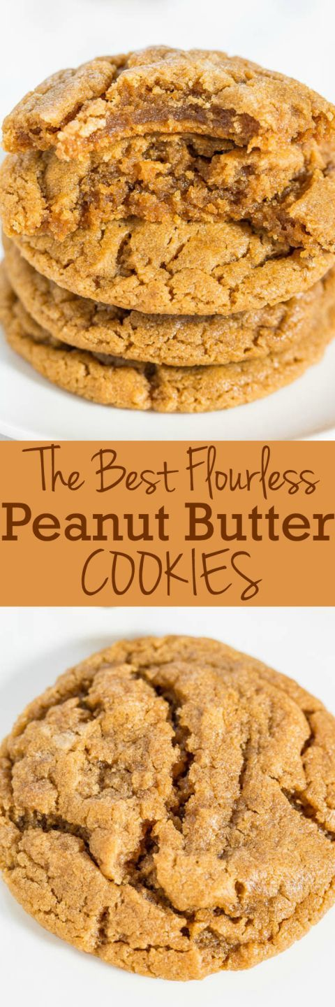 The Best Flourless Peanut Butter Cookies - Soft, chewy and they'll be your new fave PB cookies!! One bowl, no mixer, no butter, naturally gluten-free! Love it when something so easy tastes so amazing!! A hit at any party or event!