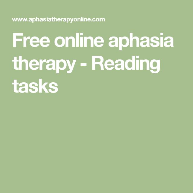 Free online aphasia therapy - Reading tasks