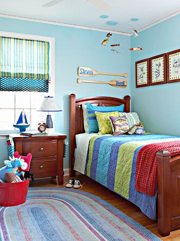 An outdoors-themed bedroom is perfect for a little camper! See the rest of this room transformation: http://www.bhg.com/rooms/kids-rooms/boys/before-and-after-boys-room/?socsrc=bhgpin071112#page=3