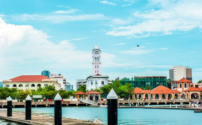 Queen Victoria Clock Tower viewed from Penang Harbour