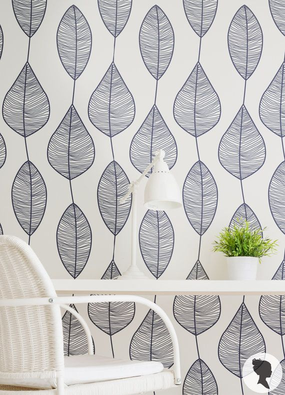 15% OFF Stripy Leaf Wallpaper / Regular or Self by Livettes