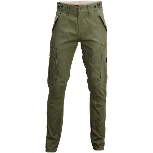 Selected 100% Cotton - Slim Fit - Cargo Pants ($23) ❤ liked on Polyvore featuring men's fashion, men's clothing, men's pants, men's casual pants, olive green, mens slim pants, mens slim fit cargo pants, mens cargo pants, mens zipper pants and mens slim fit pants
