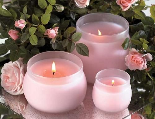 Romantic pink candles