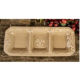 Drake Design Taupe Serving Dish Section Tray Condiments Candy Wish Wish Wish Wish Wish