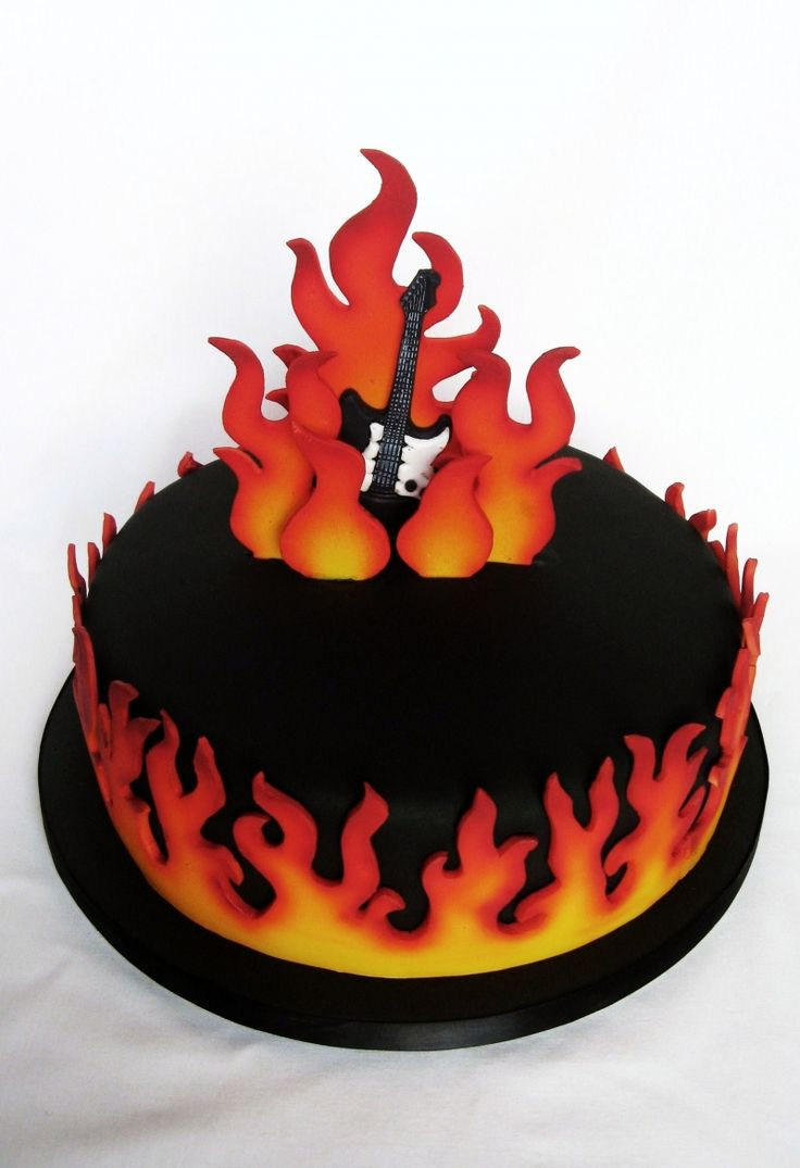Flame Guitar Cake Very Interesting Cakes Pinterest